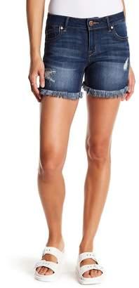 1822 Denim Distressed Frayed Hem Shorts