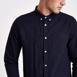 River Island Mens Navy Oxford long sleeve shirt