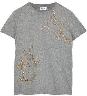 RED Valentino Embellished Cotton-Jersey T-Shirt