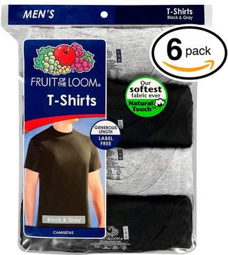 Fruit of the Loom Men's 6Pack STAY TUCKED Black & Grey Crewneck T-Shirts, L
