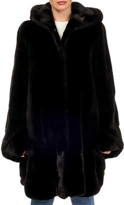 Gorski Oversized Mink-Fur Round-Hem Parka