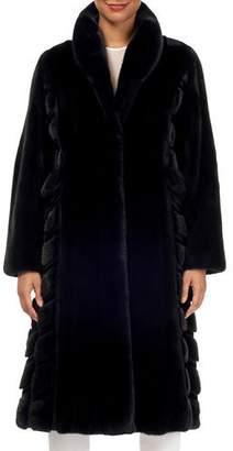 Gorski Wing-Collar Long Mink Fur Coat w/ Sheared Mink Inserts