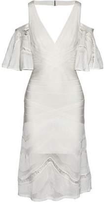 Herve Leger Cold-Shoulder Lace And Pointelle Knit-Paneled Bandage Dress