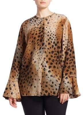 Izzie Leopard-Print Silk Blouse