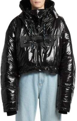 Maison Margiela Women's Cropped Puffer Coat - Black - Size 42 (6)