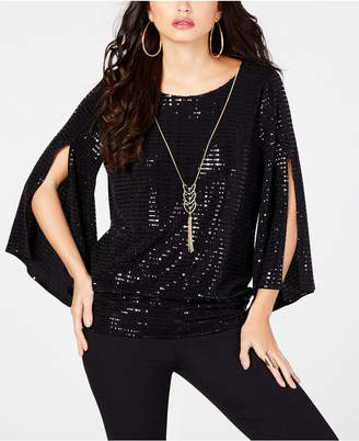 Thalia Sodi Sequined Necklace Top