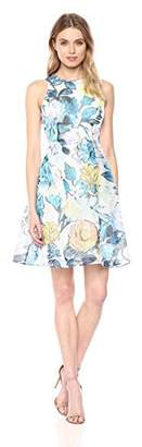 Adrianna Papell Women's Stained Glass Floral Printed Ribbed Organza