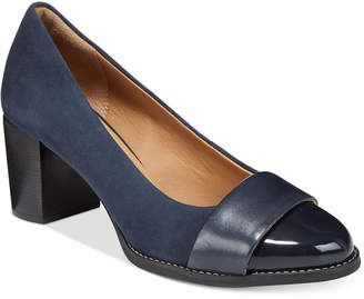 Clarks Artisan Women Tarah Brae Block-Heel Pumps Women Shoes