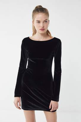 Urban Outfitters Belle Velvet Bell-Sleeve Mini Dress