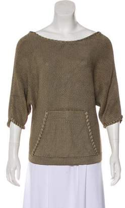 Oscar de la Renta Short Sleeve Knit Sweater