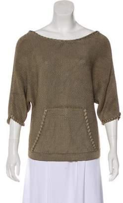 Oscar de la Renta Short Sleeve Knit Sweater