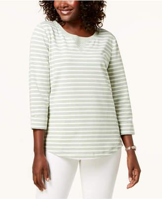 Karen Scott Petite Rhinestone-Embellished Sweatshirt