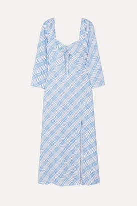 Rixo Giselle Checked Crepe De Chine Dress - Blue