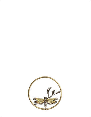 Rosegold Annoushka Hoopla dragonfly diamond 18ct rose-gold pendant