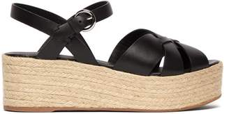 Prada Crossover Leather Flatform Sandals - Womens - Black