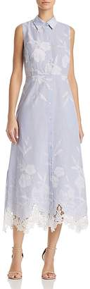 T Tahari Millie Embroidered Midi Dress