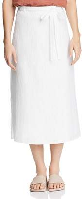 Eileen Fisher Faux Wrap Organic Linen Midi Skirt
