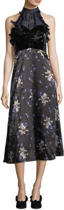Rebecca Taylor Sleeveless Halter A-Line Velvet Printed Midi Dress