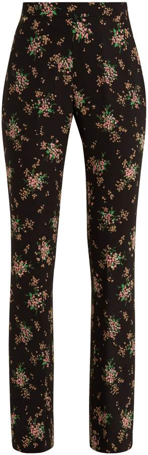 MSGM High-rise floral-print crepe trousers