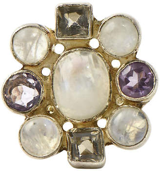 One Kings Lane Vintage Moonstone & Quartz Silver Statement Ring - Owl's Roost Antiques