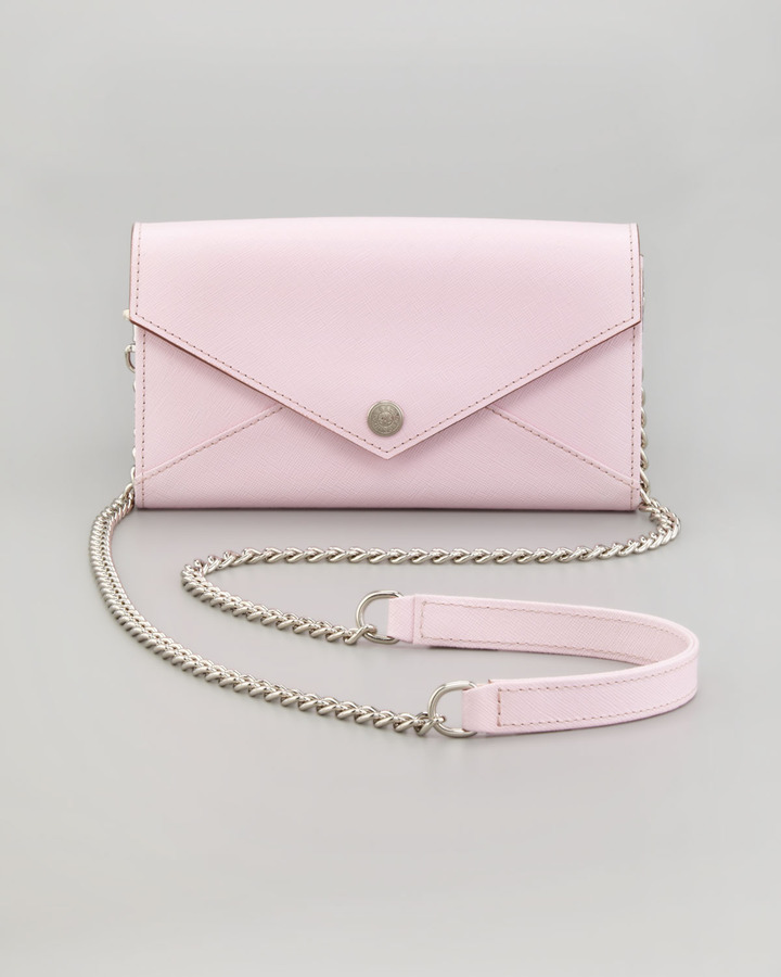 Rebecca Minkoff Saffiano Wallet-on-a-Chain Bag, Petal Pink