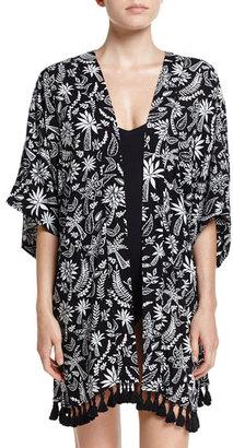 Seafolly Palm Print Kimono Jacket Coverup, Black $142 thestylecure.com
