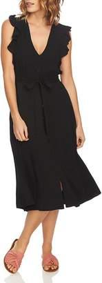 1 STATE 1.STATE Sleeveless Ruffle-Trim Shirt Dress