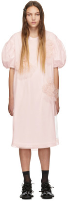 Simone Rocha Pink Ruched Flowers Puff Sleeves Tee Dress