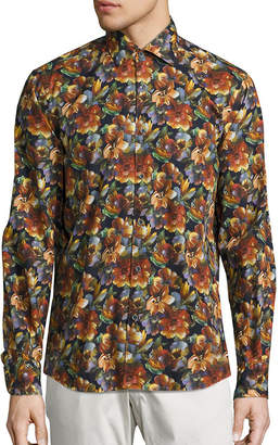 Saks Fifth Avenue Collection Floral Oil Pastels Shirt