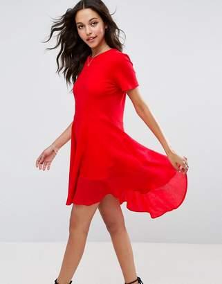 Asos DESIGN Skater T-Shirt Dress With Woven Cotton Hem