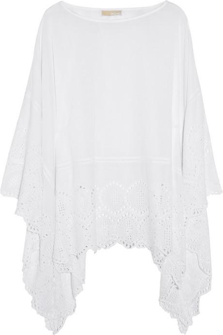 MICHAEL Michael Kors Broderie anglaise cotton poncho