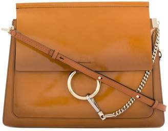 Chloé caramel brown faye patent and leather shoulder bag