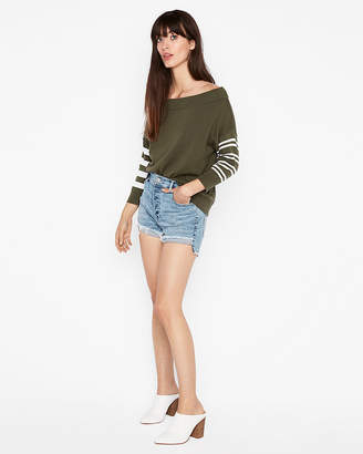 Express Off The Shoulder Stripe Sleeve Pullover Sweater