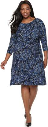 Dana Buchman Plus Size Twist-Front Dress