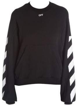 Off-White Women's Diagonal Stripes Sweatshirt - Black White - Size Medium