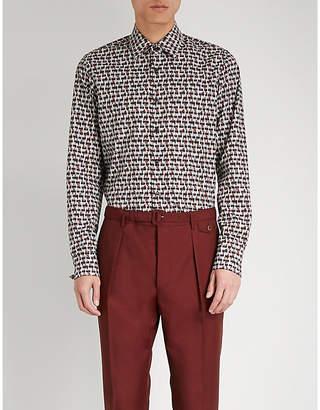 Prada Brick-pattern regular-fit cotton shirt