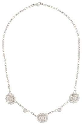 Doris Panos 18K 1.35ctw Diamond Floral Station Necklace