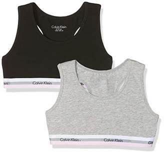 Calvin Klein Girl's 2pk Bralette Bustier, Grey Heather/ 1 Black 090, (Size: 8-10) Pack of 2