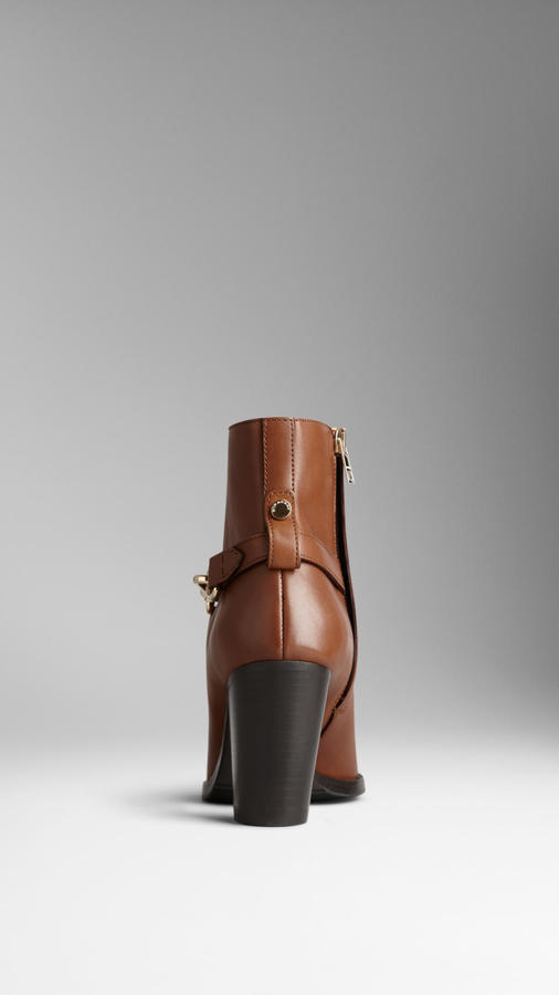 Burberry Polished Metal Buckle Ankle Boots