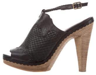 Derek Lam Snakeskin Ankle Strap Sandals