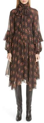 Etro Ruffle Sleeve Print Silk Dress