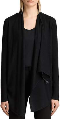 AllSaints Drina Ribbed Merino Wool Cardigan