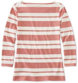 L.L. Bean L.L.Bean Signature Cotton/Modal Top, Three-Quarter-Sleeve Boatneck Double-Bar Stripe
