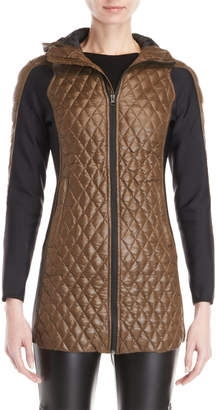 Bacon Olive Diamond Quilted Hooded Longline Jacket