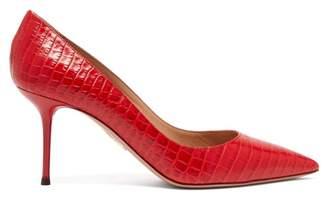 Aquazzura Purist 75 Crocodile Effect Leather Pumps - Womens - Red