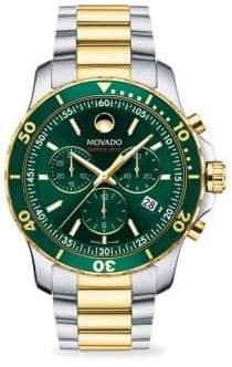 Movado Series 800 Round Stainless Steel& Yellow PVD Chronograph Bracelet Watch - Green