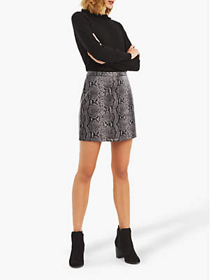 Oasis Faux Snake Mini Skirt, Dark Grey