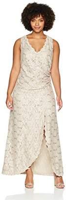 Jessica Howard Women's Plus Size Sleeveless Dress with Wrap Skirt