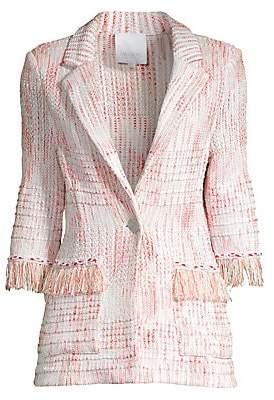 Misook Women's Fringe-Trim Tweed Jacket