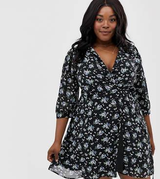 Yumi Plus floral wrap dress